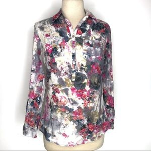 JAK Abstract Watercolor Floral Print Blouse Top